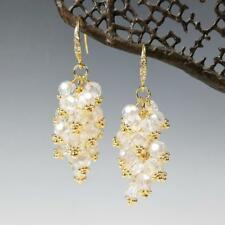 Sparkling Beaded AB Clear Crystals Cluster Drop Earrings 14K Gold Plated Hook