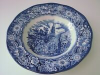 "Liberty Blue Staffordshire OLD NORTH CHURCH rimmed soup bowl/s 8  3/4"" blue"
