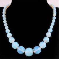 "Wholesale 6-14mm Natural White Opal Round Gemstone Beads Necklace 18"" AA"