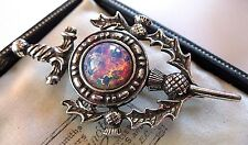 VINTAGE DESIGN MIRACLE JEWELLERY SCOTTISH CELTIC OPAL KILT BROOCH SHAWL PIN
