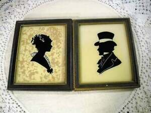Two Vtg. Reliance Silhouette Portraits of a Southern Belle & Southern Gentleman
