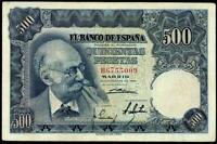SPAIN 500  PESETAS  MARIANO BENLLURE  1951 F PICK # 142  NICE BANKNOTE RARE