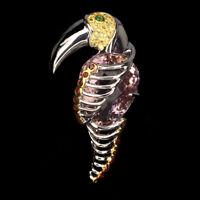 Handmade Pear Ametrine 40ct+ Sapphire Gem 925 Sterling Silver Hornbill Pendant