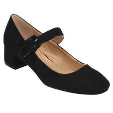 Women's Low Chunky Heel Mary Jane Pumps Shoes BLACK Size 8