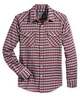 AMERICAN RAG LONG SLEEVE POCKET PLAID GREY RED SNAP BUTTON FRONT CASUAL SHIRT
