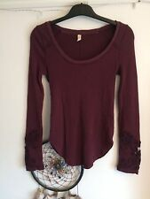 Free People Embroidery Long Sleeve Purple Top Size Small Boho Hippie