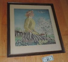 Coshocton Ohio Edmont Glove Print Hart's Department Store Airplane Ed Hall Art
