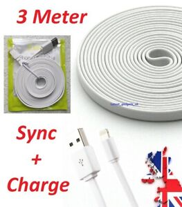 3M Flat USB Data Sync Charger Cable For iPad Pro/Air/Air 2/Mini/Mini 2&4/4th Gen