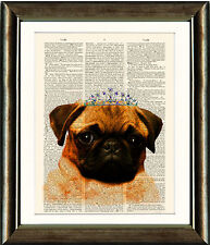 Antique Book page Art Print - Cute Pug Image - Upcycled Dictionary Wall Art