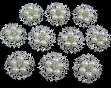 Wholesale 10pcs Faux Pearl Crystal Rhinestone Brooch Pins Wedding Bridal Bouquet