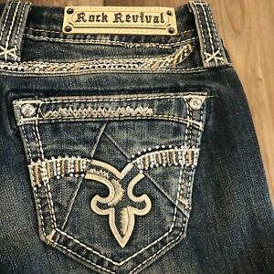 ROCK REVIVAL JENIYA SKINNY JEANS SIZE 29 x 29 IN EXCELLENT CONDITION!