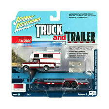 Ford F-150 1993 Red with White Camper and Chrome Open Car Trailer,Scale 1:64
