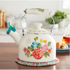THE PIONEER WOMAN WHISTLING TEA KETTLE BLOOMING BOUQUET WHITE FLORAL NEW ENAMEL