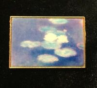 Vintage Blue & White Abstract Modernist Painting Pin / Brooch Gold Tone m.US