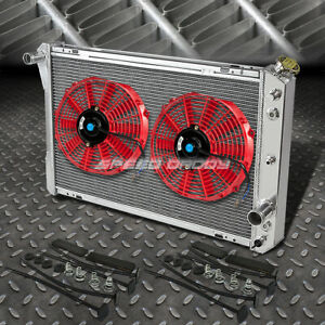 "3-ROW ALUMINUM RADIATOR+2X 10""FAN KIT RED FOR 82-92 CHEVY CAMARO/FIREBIRD V8"