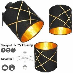 E27 Stoffschirm Ersatzschirm Tischlampe Pendellampe Lampenschirm schwarz-gold