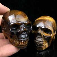 "2"" Natural Tiger Eye's Jasper Quartz Crystal Carved Skull Reiki Healing 10pcs"