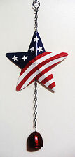 """4TH OF JULY STAR DOOR CHIME WITH BELL PATRIOTIC DECOR 14"""" LONG"""