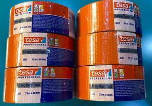 TESA RUBAN ADHESIF TOILE  (25m x 48mm) ORANGE LOT DE 6 -  NEUFS