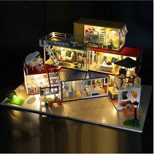 DIY Wooden Villa 3D Dollhouse Miniature Furniture Kits LED Music Kids Toy Gift