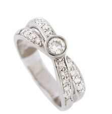 18K White Gold Women's Natural Round .57 CTW H Color SI 1 Diamonds Ring Size 6.5
