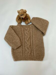 Hand Knitted Brown Alpaca/Merino Wool Crew-Neck Cabled Sweater 12 Months