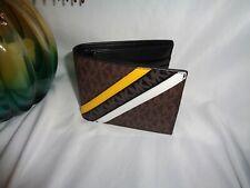 Michael Kors Cooper Billfold Pass Case Bifold Wallet Brown Lemon MK Logo