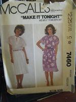 Vintage McCall's 7460 Misses Dress Pattern - Size M (14-16) Bust 36-38