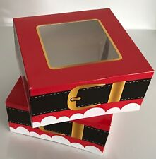 2 Festive CHRISTMAS Food Cake Treat Sweets Gift Boxes with Clear Window