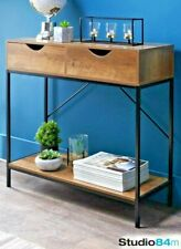 Tromso Modern Stylish Console Lounge Hallway Table Wooden Drawers Black Metal