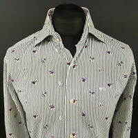 McGregor Mens Shirt 40 (MEDIUM) Long Sleeve White Tailored Striped Cotton