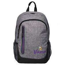 Minnesota Vikings BackPack Back Pack Book Sports Gym School Bag New Heather Grey
