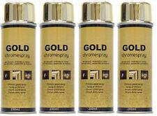 4 Bombes Peinture Chrome Or Doré Effet Miroir Gold Aérosol Spray 4X200 ml