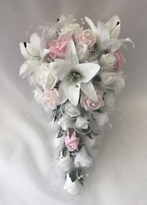 Wedding bouquets flowers Star Lillies pink  bride bridesmaids Teardrop