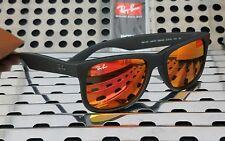 New Ray Ban Justin RB4165 622/6Q Sunglasses Matte Black w/ Red Flash Lenses
