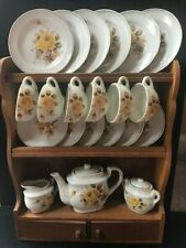 Vintage Cragstan China Toy Tea Set in Wooden Cabinet and Box Yellow Rose Pattern