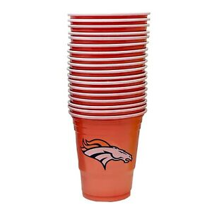 18 Game Day Football Denver Broncos Plastic Cups officially Licensed 18 oz