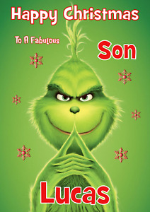 The Grinch personalised A5 Christmas card ANY - Relation / Name