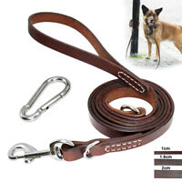 6ft Real Leather Dog Leash Heavy Duty K9 Training Leads with Locking Carabiner