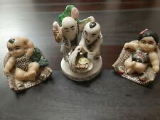 Vintage Japanese Okimono Netsuke lot of 3 heavy resin figurines