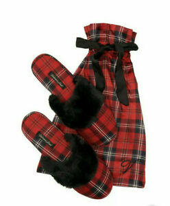 Victoria's Secret Signature Satin Slippers Red/Black Plaid Womens Size M (7-8)
