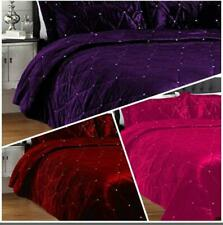 5 Pc Diamante Velvet Crystal Bedspread / Coverlet Set All Colors All Szes