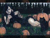 Gothic PRINT Art woman Pumpkin Patch Halloween Black Cat Witch Green Orange