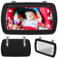 Baby Sicherheit Auto KFZ Rücksitzspiegel Rückspiegel mit Beleuchtung 6 x LED