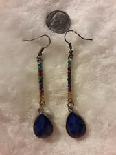 teardrop charm beautiful ear decoration Rainbow chakra rhinestone earrings blue