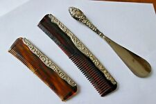 2 x Antique Silver Mounted Tortoiseshell Combs and Silver Handled Shoe Horn