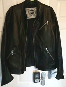 BNWT BLACK LEATHER BIKER JACKET LAVERDA AN APRILIA BRAND ITALIAN RRP £299 COAT