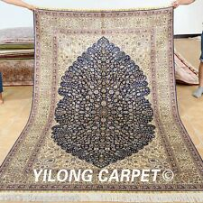 Yilong 5'x8' Traditional Silk Rugs Hand Knotted Leaf Design Carpet Handmade 1031