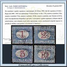 Colonie Italiane 1903 Eritrea Segnatasse 4 alti valori n 8/11 Certificato Usati