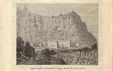 Stampa antica monti MONTSERRAT Catalogna Spagna 1880 Grabado Antiguo Old Print